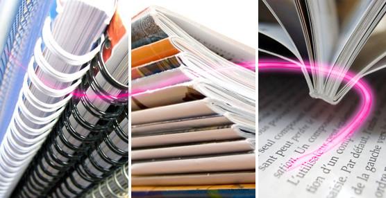 reliure de documents, spirale metal et plastique, agrafage deux points, et dos carré collé