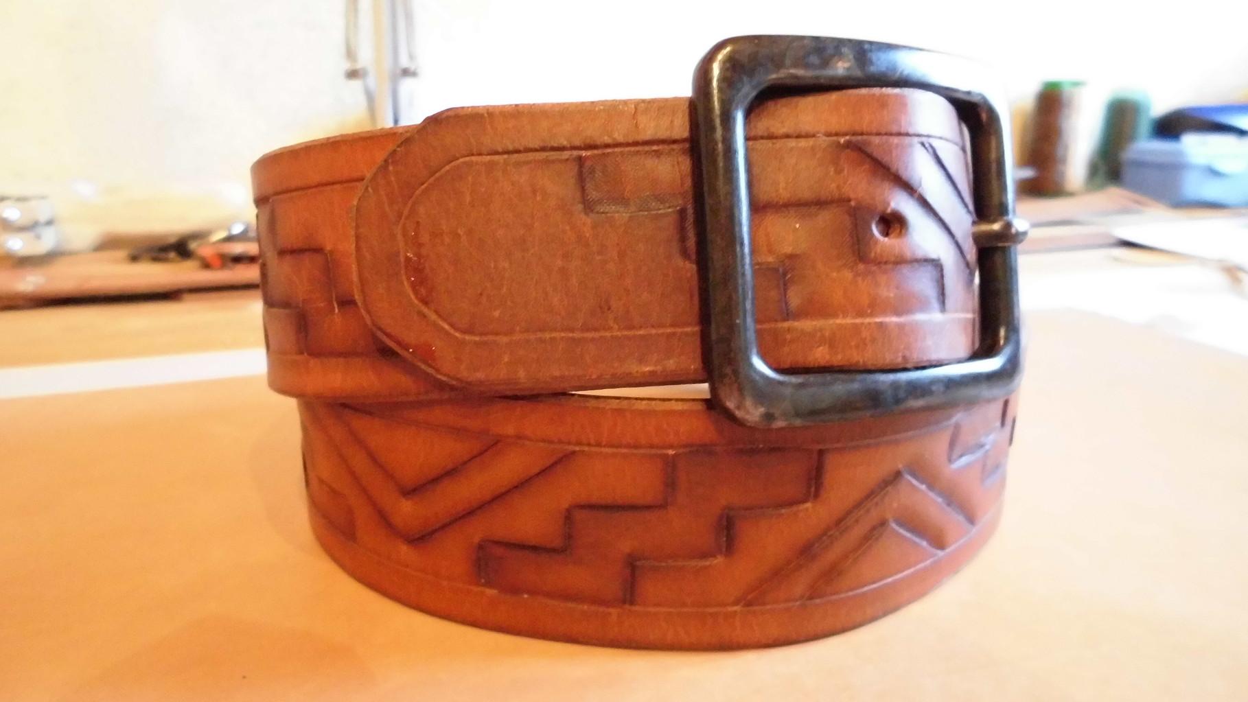 Gürtel - Punziert - Saddle Tan