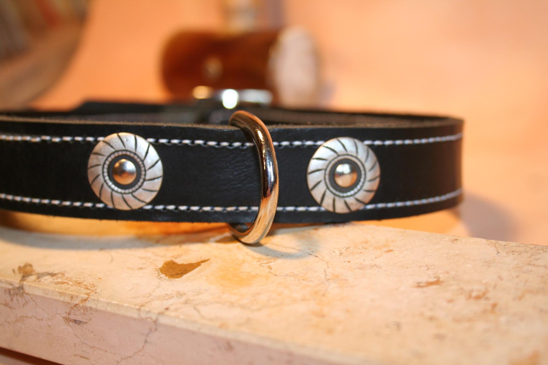 Hundehalsband mit Ziernieten und genähtem Rand