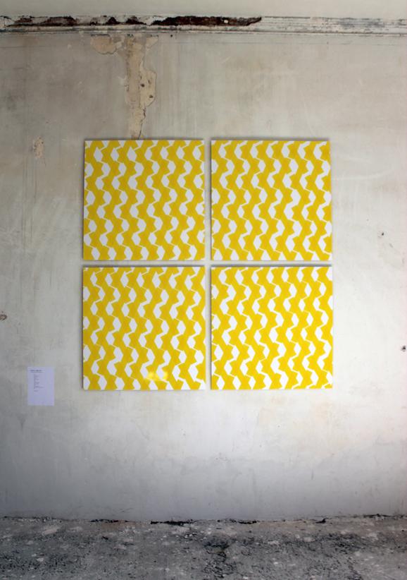 """""""Rythme jaune, dit Soleil"""", 2013. Quadriptyque dim. 186x186cm"""