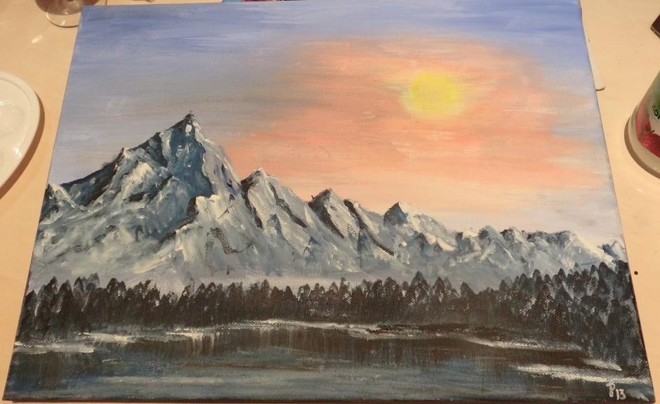 Berge im Schnee - Acryl auf Leinwand