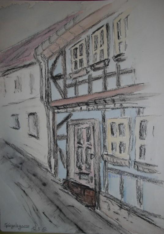 Spiegelsgasse in Mühlhausen (Kohle colloriert)