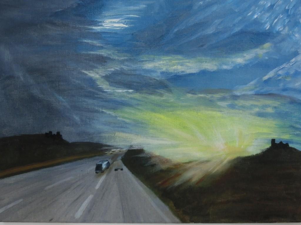 Auf der Autobahn - Acryl auf Leinwand