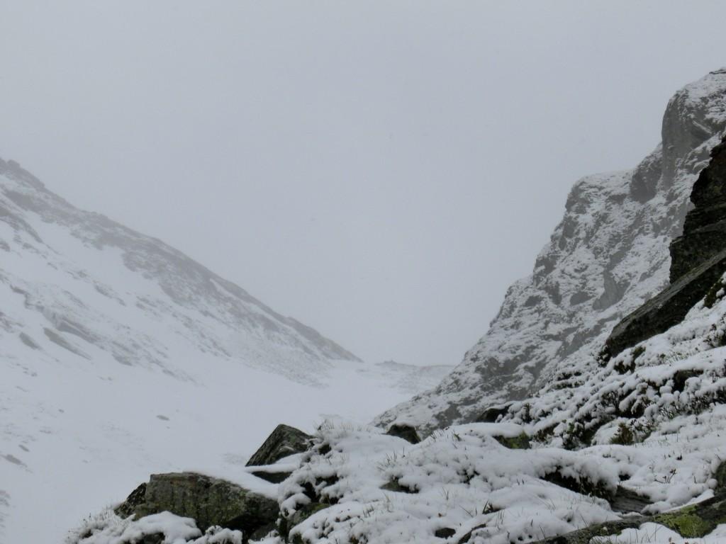 Grau in Grau, mit dem Schnee kommt auch der Nebel.