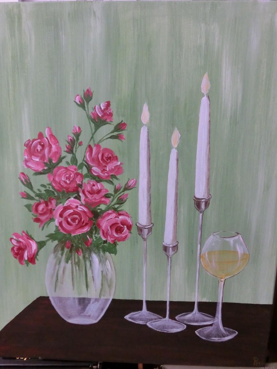 Rosen und Wein - Acryl auf Leinwand