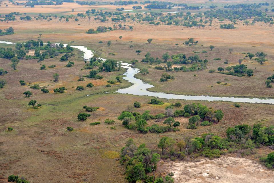 Okavango-Delta aus der Luft gesehen
