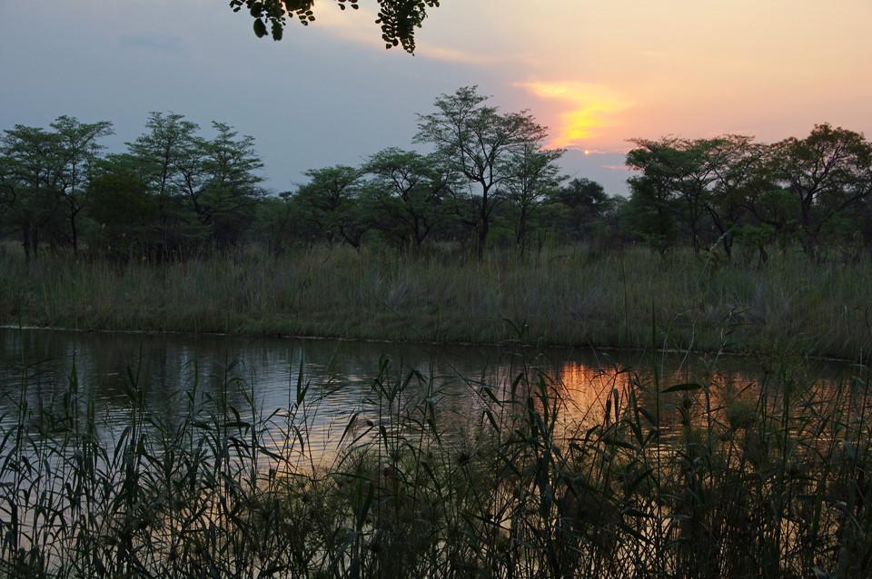 Sonnenuntergang am Kwando