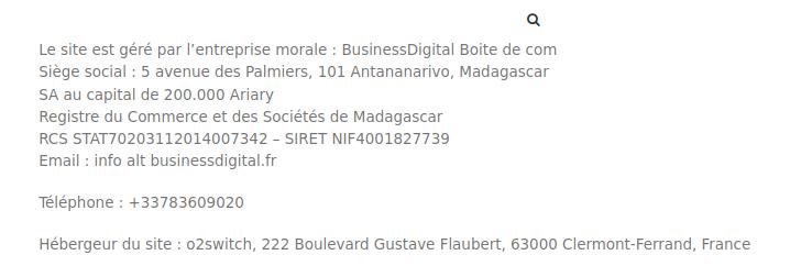 Le site est géré par BusinessDigital