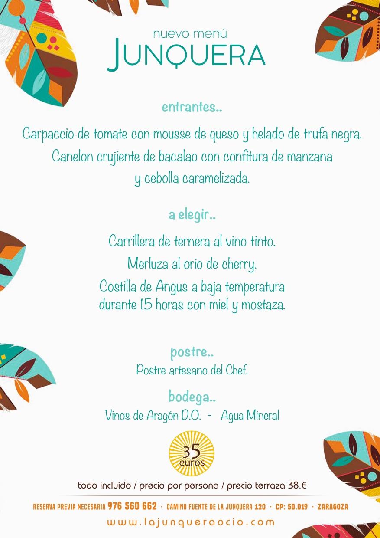 Nuevo menu Junquera 2021 (Este menu esta diseñado para grupos inferiores a 15 comensales. Para mayor numero, Consultenos...)