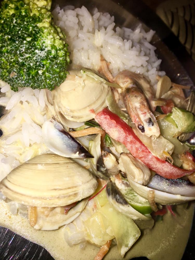 Muscheln, Gambas, Gemüse & Reis 🍚