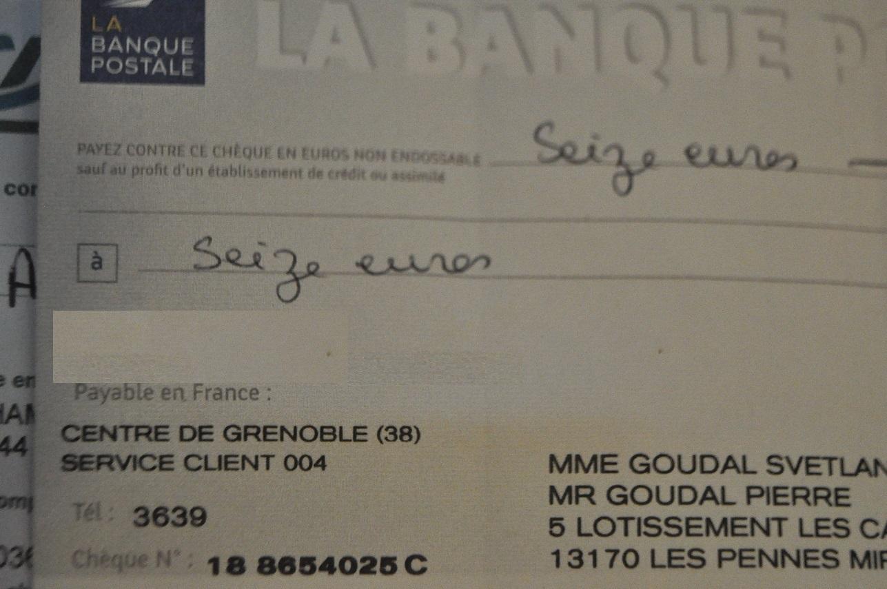 J'ai fait un chèque après l'apéro, je crois que j'ai abusé de l'hydromel....Photo envoyée par notre trésorier