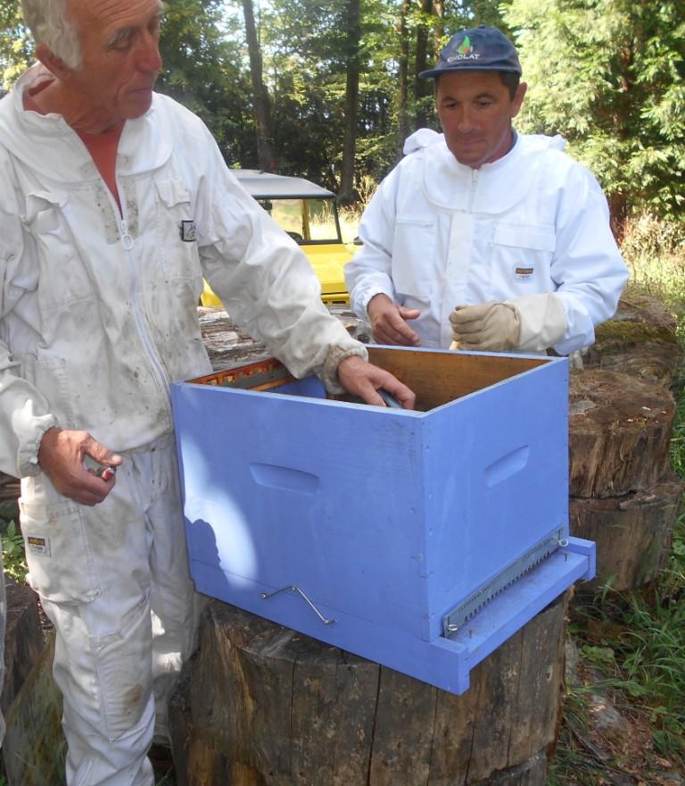 Désinfection au chalumeau de la ruche qui va accueillir l'essaim.