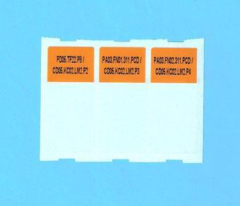 Etiqueta autolaminante con fondo naranja para cable UTP 6A