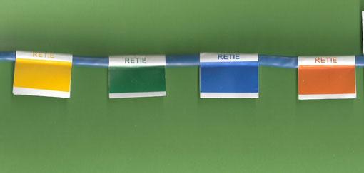 Formato tipo bandera de etiqueta en poliester con colores del Retie