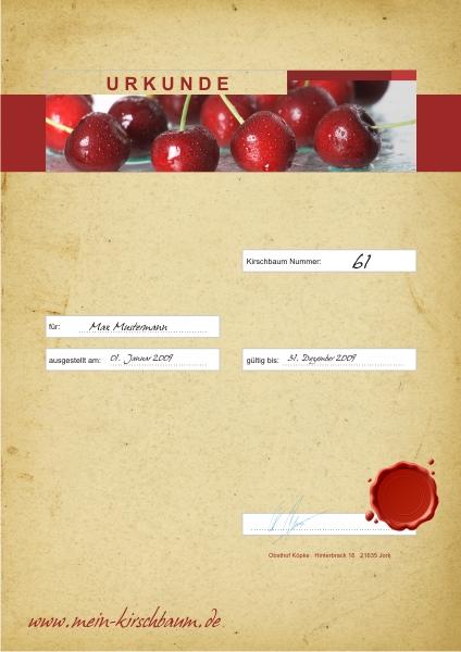 Kirschbaumpatenschaftsurkunde