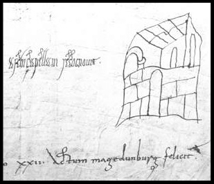 Kloster St. Michael, Lüneburg, in einer Urkunde König Ottos I. Zeichnung: Hermann Billung höchstselbst.