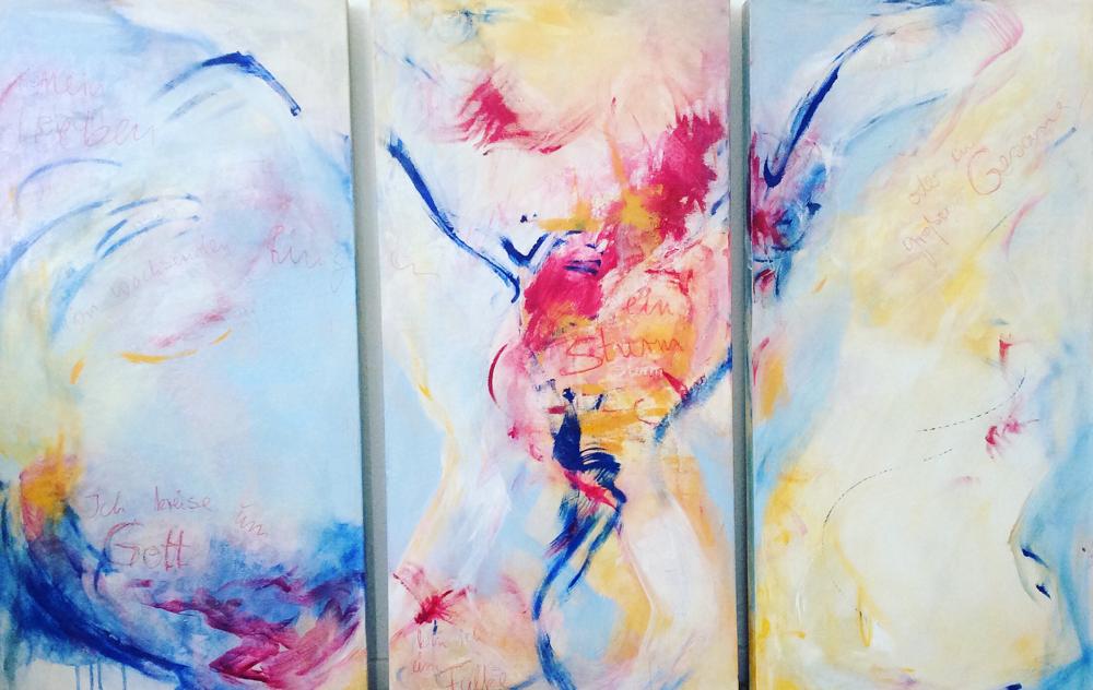 Triptychon 150x150cm, Mischtechnik auf LW, verkauft