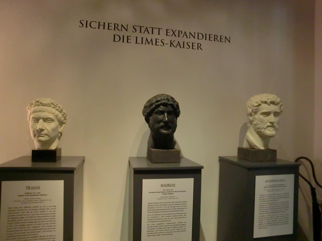 Limes-Kaiser: Trajan 98-117), Hadrian 117-138), Antoninus Pius (138-161)