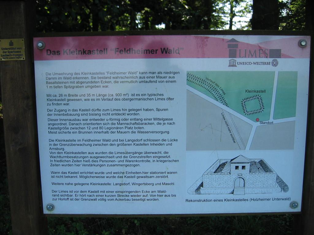 Infotafel am Kleinkastell Feldheimer Wald