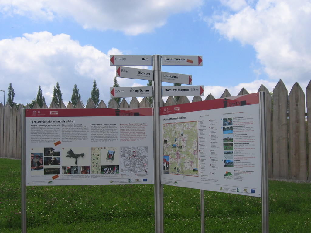 Wegweiser bei Mainhardt (Rom 1.184 km, Ellwangen 55 km, Eining 275 km)
