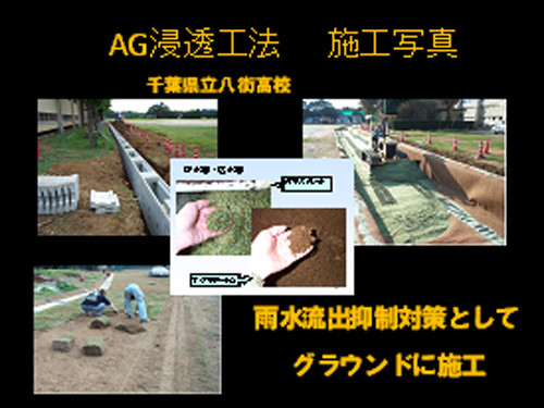 AG浸透工法施工写真(雨水流出抑制対策としてグラウンドに施工)