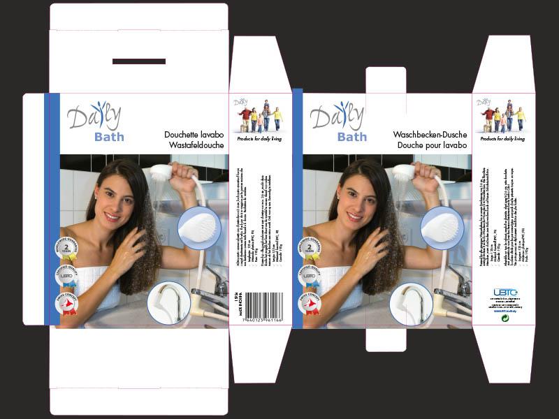 Daily Bath Waschbeckendusche — Umgesetzte Verpackungsgestaltung mit Produktfotografie