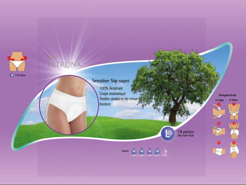 Daily Patrona Sensitive Slip — Variante 2 der Verpackungsgestaltung der Slip-Produktlinien