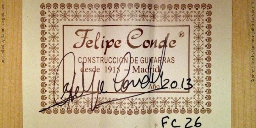HERMANOS CONDE - FELIPE CONDE 2013 #2 - LABEL - ETIKETT - ETIQUETA