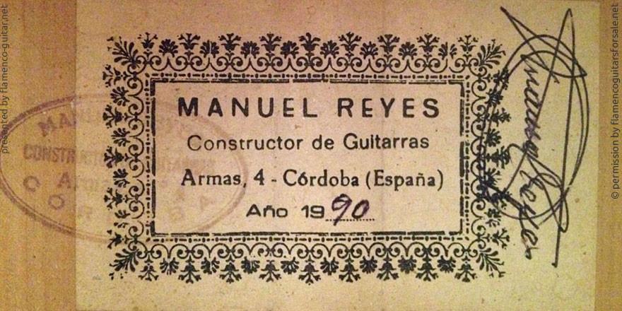 MANUEL REYES GUITAR 1990 - LABEL - ETIKETT - ETIQUETA