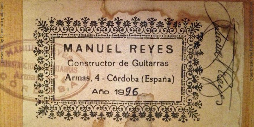 MANUEL REYES GUITAR 1996 - LABEL - ETIKETT - ETIQUETA