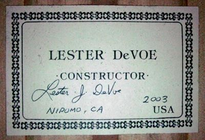 Lester Devoe 2003  - Guitar 2 - Photo 5