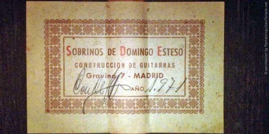 HERMANOS CONDE - SOBRINOS DE ESTESO 1971 - LABEL - ETIKETT - ETIQUETA