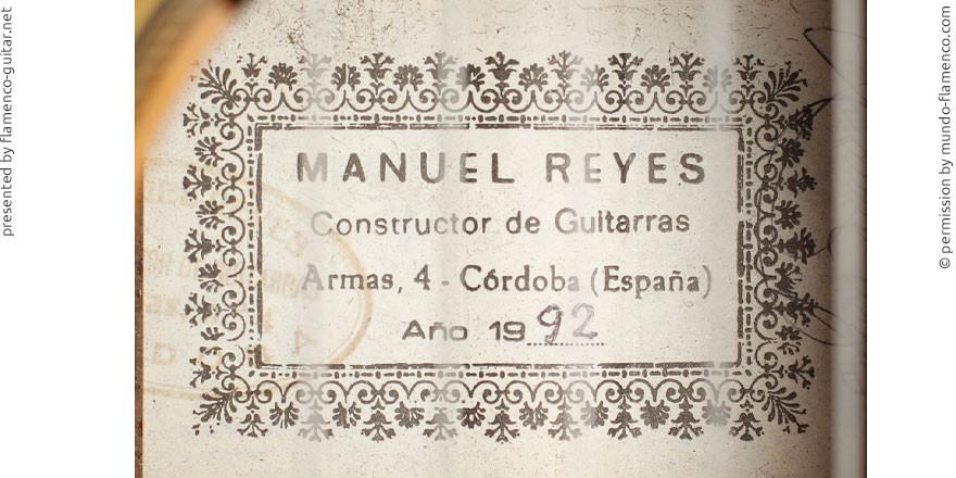 MANUEL REYES GUITAR 1992 - LABEL - ETIKETT - ETIQUETA