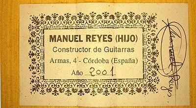 Manuel Reyes Hijo 2001 - Guitar 5 - Photo 3