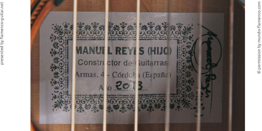 MANUEL REYES HIJO GUITAR 2013 - LABEL - ETIKETT - ETIQUETA