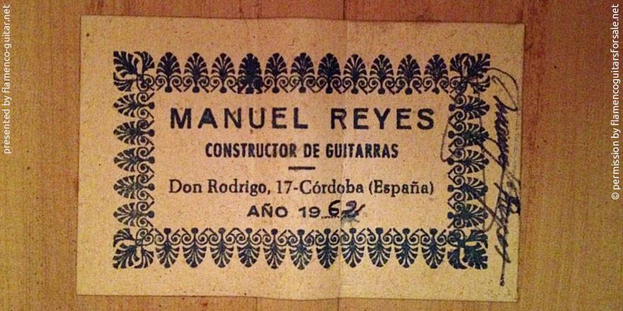 MANUEL REYES GUITAR 1962 #2 - LABEL - ETIKETT - ETIQUETA