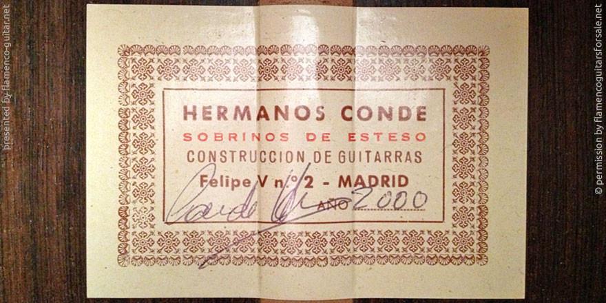 HERMANOS CONDE - SOBRINOS DE ESTESO 2000 - LABEL - ETIKETT - ETIQUETA