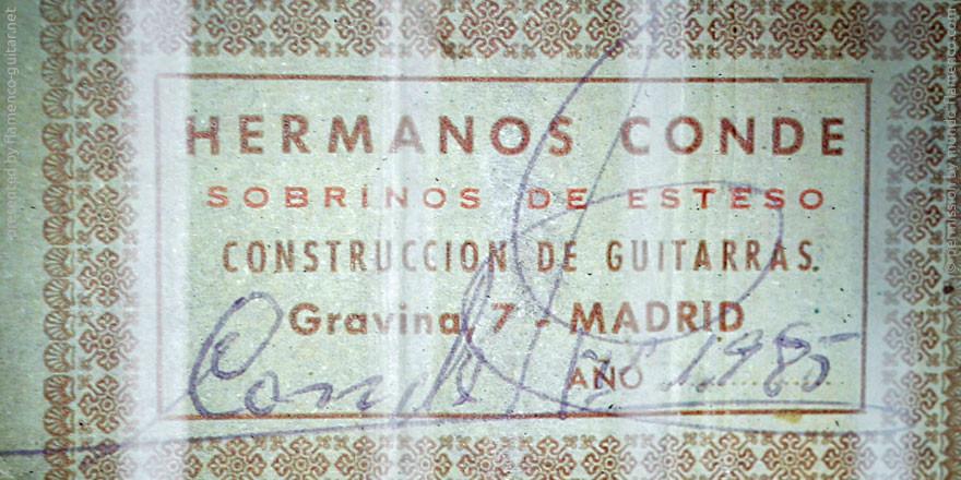 HERMANOS CONDE - SOBRINOS DE ESTESO 1985 - LABEL - ETIKETT - ETIQUETA