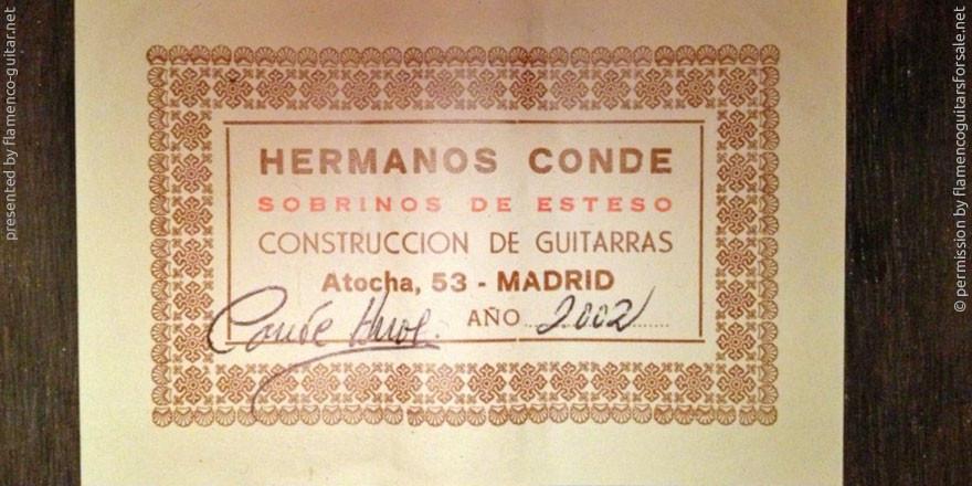 HERMANOS CONDE - SOBRINOS DE ESTESO 2002 - LABEL - ETIKETT - ETIQUETA