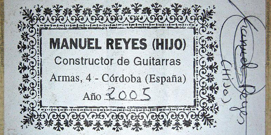 MANUEL REYES HIJO GUITAR 2005 - LABEL - ETIKETT - ETIQUETA