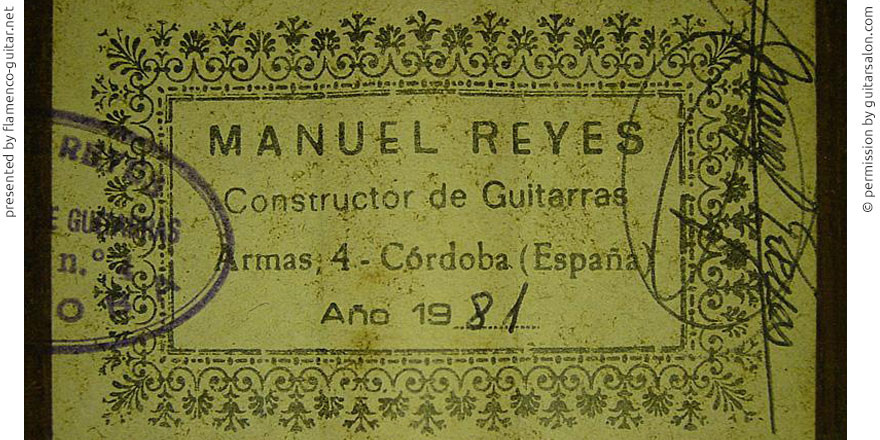 MANUEL REYES GUITAR 1981 #2 - LABEL - ETIKETT - ETIQUETA