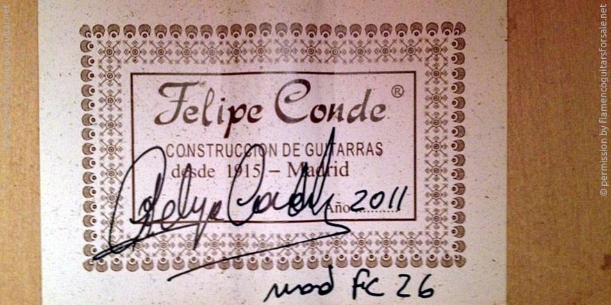 HERMANOS CONDE - FELIPE CONDE 2011 #2 - LABEL - ETIKETT - ETIQUETA