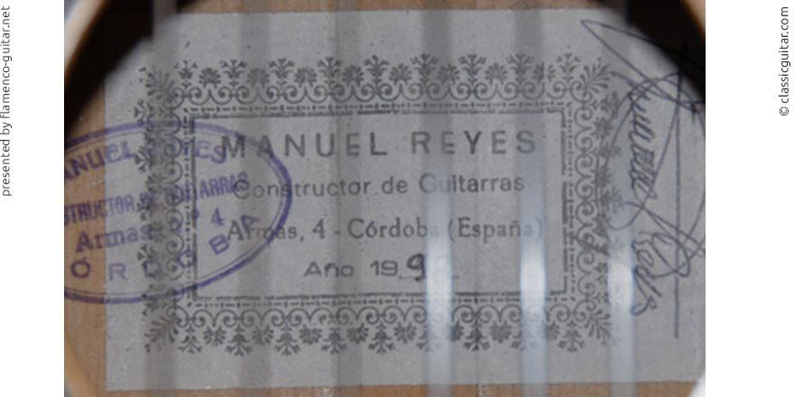 MANUEL REYES GUITAR 1998 - LABEL - ETIKETT - ETIQUETA