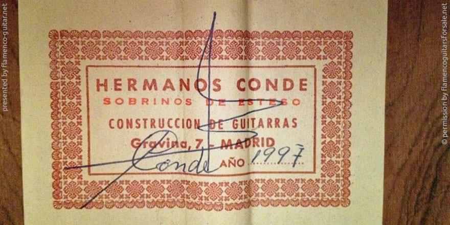 HERMANOS CONDE - SOBRINOS DE ESTESO 1997 - LABEL - ETIKETT - ETIQUETA