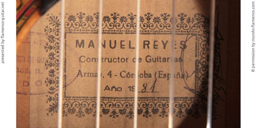 MANUEL REYES GUITAR 1981 - LABEL - ETIKETT - ETIQUETA