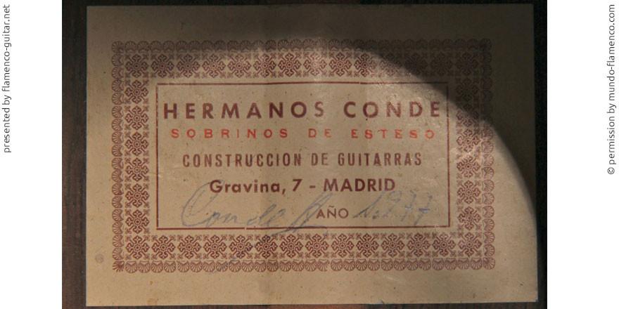 HERMANOS CONDE - SOBRINOS DE ESTESO 1977 #2 - LABEL - ETIKETT - ETIQUETA