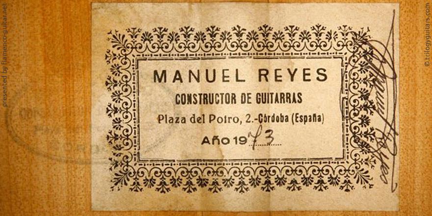 MANUEL REYES GUITAR 1973 - LABEL - ETIKETT - ETIQUETA