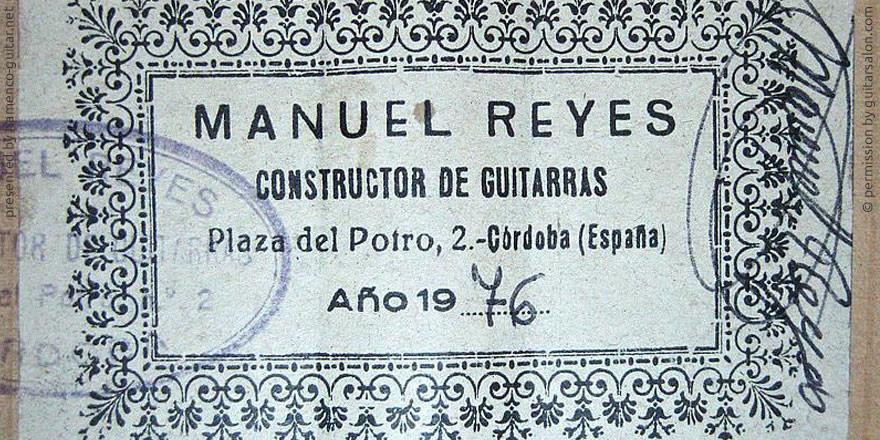 MANUEL REYES GUITAR 1976 - LABEL - ETIKETT - ETIQUETA