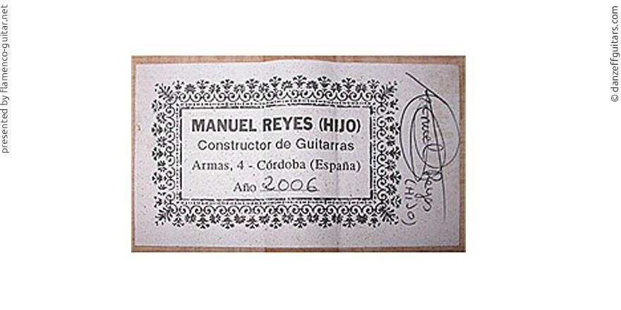 MANUEL REYES HIJO GUITAR 2006 - LABEL - ETIKETT - ETIQUETA