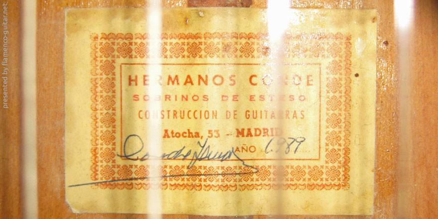 HERMANOS CONDE - SOBRINOS DE ESTESO 1989 #2 - LABEL - ETIKETT - ETIQUETA